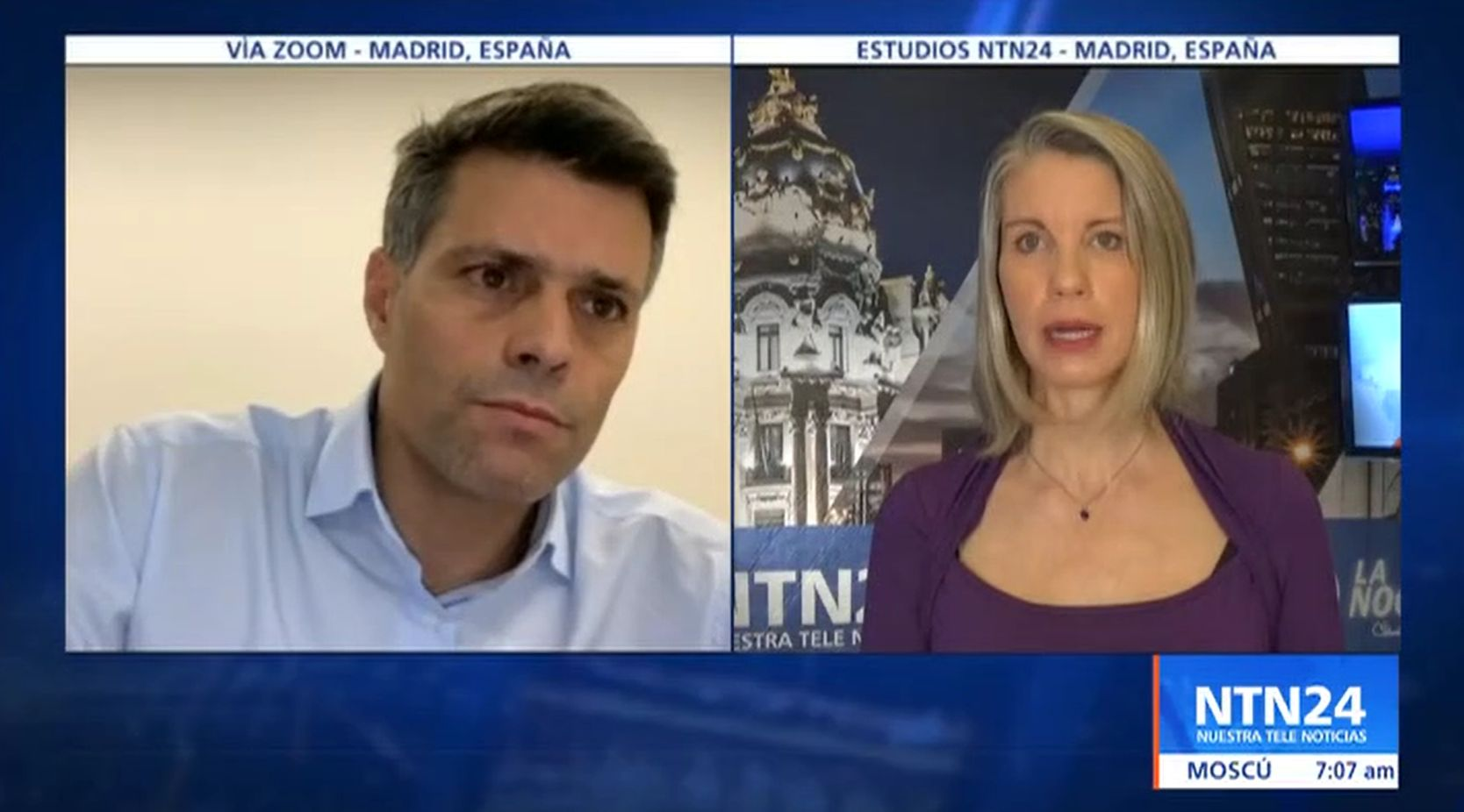 NTN 24 | Temporary protection for migrants and geopolitics of the region: Leopoldo López speaks on 'La Noche'.