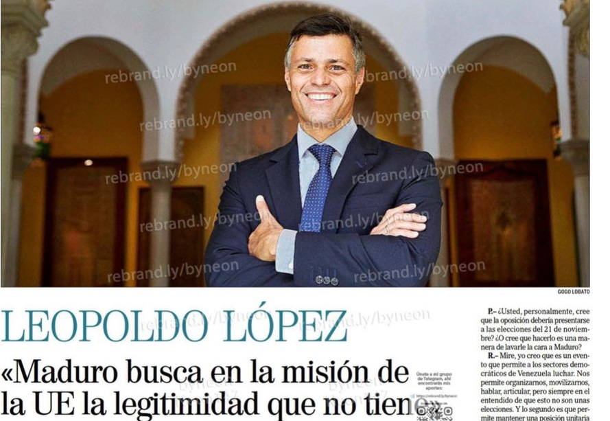 """Leopoldo López: """"Maduro busca en la misión de UE la legitimidad que no tiene""""."""